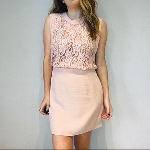 Aritzia Wilfred silk light blush pink lace dress